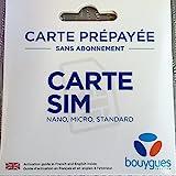 Carte SIM prépayée sans abonnement bouygues