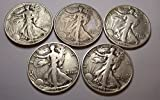 Count of 5 - Walking Liberty Half Dollar 5 Different Dates XF/VF 90% Silver Fine to Extra Fine