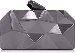 NSHUN Clutch Bag, Womens Alloy Metal Abstract Stone Clutch Purse Evening Cocktail Wedding Party Handbag (Color : Gray)