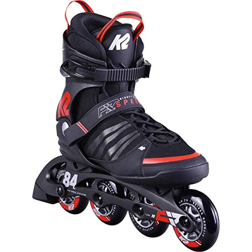 K2 Skates Herren Inline Skate F.I.T. 84 Speed Alu  — Black - red — EU: 44 (UK: 9.5 / US: 10.5) — 30D0260
