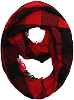 CCFW Women Winter Checked Pattern Cashmere Feel Warm Plaid Infinity Scarf 1