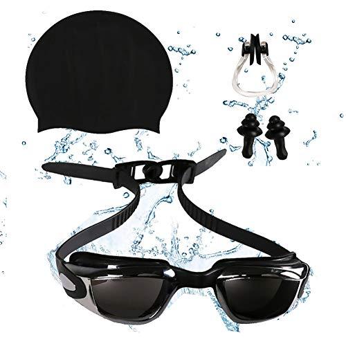 Auveach Occhiali da Nuoto Bambini Anti-Appannamento Anti-UV con Tappi per Le Orecchie, Silicone Swim cap e Stringinaso Vestito Vetri di Nuoto Impostati (Ragazzi Nero)