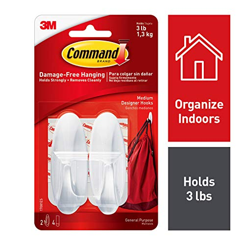 Command Designer Hooks, Medium, White, 2-Hooks (17081ES), Organize your dorm