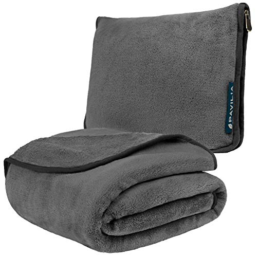 PAVILIA Travel Blanket and Pillow | Warm Soft Fleece 2-in-1 Combo Blanket for Airplane, Camping, Car Trips | Large Compact Blanket Set with Luggage Strap & Backpack Clip, 60 x 43 (Charcoal Gray)