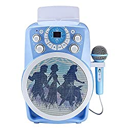 Connect to Tv and view the lyrics also plays CDG disks Wirelessly streams audio from any compatible device Audio video controls adjusts background music and vocals while you sing Led lighting Flashes with music Microphone Included
