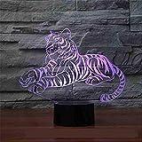 Lumière Tigre Coloré 3D Lampe Led Enfants Lampe Tactile Batterie Compartiment Vitesse Vitesse Vendre La Vue Générale Led Veilleuse