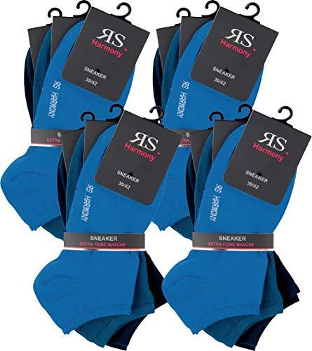 RS. Harmony | Sneaker-Socken | Klassischer Qualitäts Baumwollsocken | 12 Paar | blau, jeans, marine | 35-38