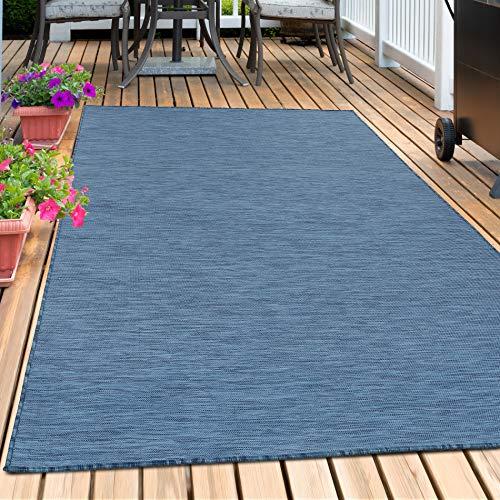 Sisal Optik Teppich In- & Outdoor Flachgewebe Uni Naturoptik Marienblau Blau, Maße:120 cm x 170 cm