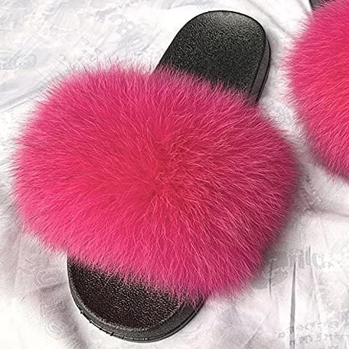 COQUI Sandalia Hombre,Nuevas Zapatillas para Padres y niños Zapatillas para niños Summer Cuero Cuero Hierba Pelo Cremallera-Rojo_34-35