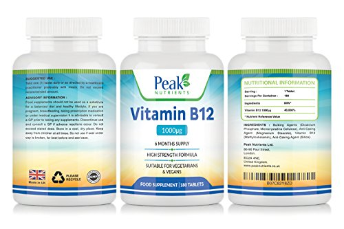 Vitamin B12 (Methylcobalamin) 1000mcg 180 Tablets (6 Months Supply) - Assists with The Immune System and Red Blood Cell Formation Improving General Tiredness and Fatigue
