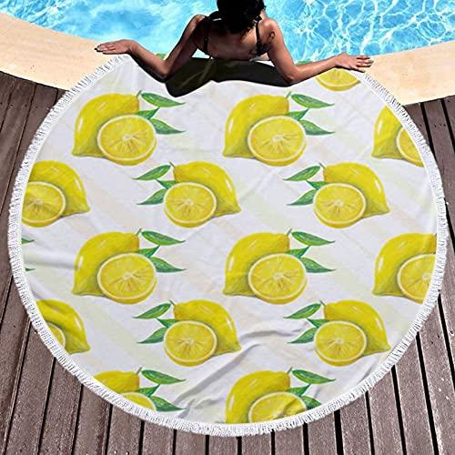 Amarillo Limón Impreso Ronda Toalla De Playa Yoga Picnic Mat Mantel Redondo Ultra Suave Super Absorbente De Agua Toalla De Terry Con Borlas