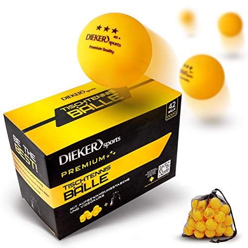 Pelotas Ping Pong de 3 Estrellas Dieker Sports [36 Pelotas + Bolsa + Vídeo] – Pelotas Ping Pong que cumplen con las Prescripciones de ITTF – Pelotas Ping Pong 3 Estrellas perfectas para todos