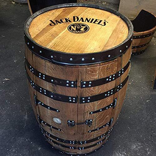 Getränkeschrank/ Weinregal, aus einem recyceltem Fass der Marke Jack Daniels, mit Aufschrift