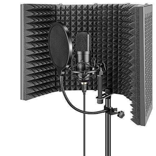 YINGYOUマイク分離シールドスタジオマイク吸音フォーム五つ折り折り畳み ボーカル録音・放送用リフレクション・フィルター録音吸音材