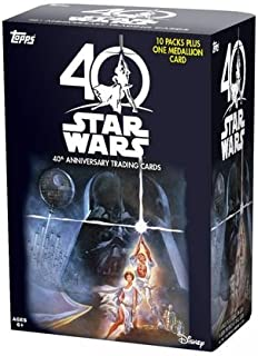 '2017 Topps Star Wars from Disney 40th Anniversary EXCLUSIVE Factory Sealed Retail Blaster Box of Packs with a BONUS MEDALLION Card plus Inserts, Parallel Cards and Possible Autographs