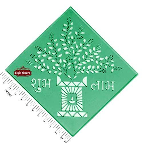 Yogic Mantra Shubh Labh Rangoli Stencils For Floor (Large 12' Size Square Reusable Template) Tulsi Tree Wealth Creation Design Diwali Laxmi Pooja Holi Colors Ganesh Puja Art Mandala Stencil Prosperity