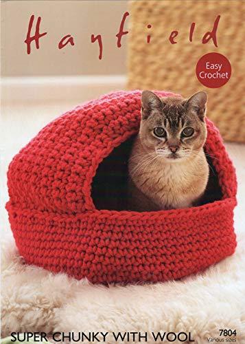 Haak patroon voor Cat Nest en opslag manden Super Chunky met wol 7804.