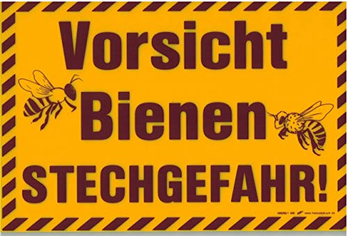 Schild - Vorsicht Bienen Stechgefahr - 309295/1 gelb - Gr. ca. 19,5cm x 13cm - Bee Imker - Kunststoffschild