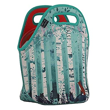 ART OF LUNCH Insulated Neoprene Lunch Bag for Women and Kids - Reusable Soft Lunch Tote for Work and School - Partnering with Artists Around the World - Design by Michelle Li Bothe (Germany) - Birches