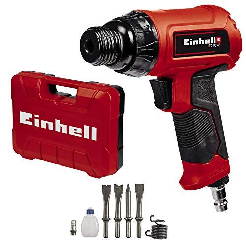 Einhell TC-PC 45, Cinceladora neumática (para trabajos en piedra y metal, incluye juego de cinceles de 120 mm de 4 piezas, botella de aceite, boquilla, muelle tensor y maletín de transporte)