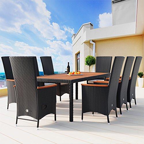 PolyRattan Sitzgruppe 8+1 neigbaren Rückenlehnen Tisch aus Akazienholz Gartenmöbel Gartenset Sitzgarnitur Rattan - 2