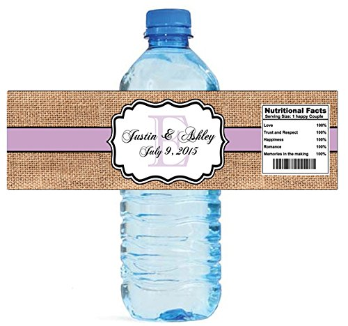 "100 Burlap Lilac Stripe Monogram Wedding Water Bottle Labels Great for Engagement Bridal Shower Party 8""x2"""