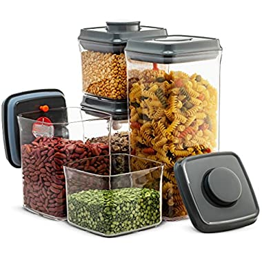 Airtight Food Storage Containers - 10 Piece Set- Easy To Open and Lock Pop & Push Button Lids, BPA-free Plastic, Pantry Dry Food Storage Containers, for Sugar, Flour, Coffee, Baking Ingredients Etc.