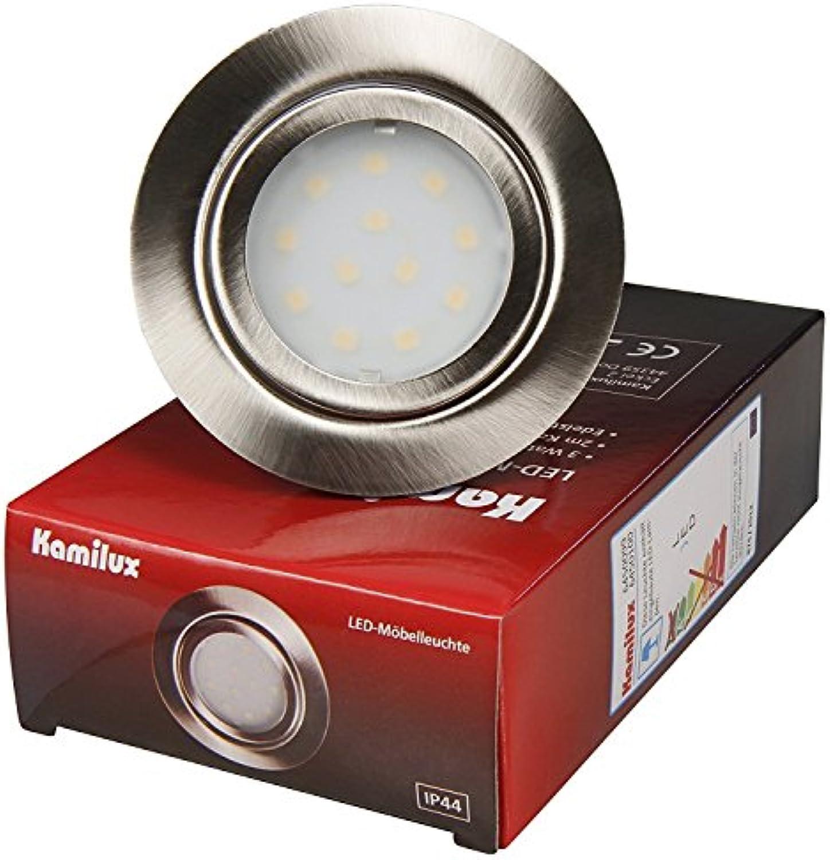 4er Set LED Mbeleinbauleuchte Malo IP44 3Watt, Edelstahl gebürstet, Lichtfarbe Warmwei, 3000 Kelvin, 12V Anschlu, Einbautiefe 22mm, fertig montiert mit AMP Stecker inklusive LED Trafo 20 Watt IP20