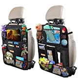 Car Backseat Organizer for Kick Mat, Upgraded Extended Size and Larger Pockets Car Back Seat Protector with 12' Screen Tablet Holder + 19 Storage Pockets for Toy Bottle Tissue Box Travel Accessories