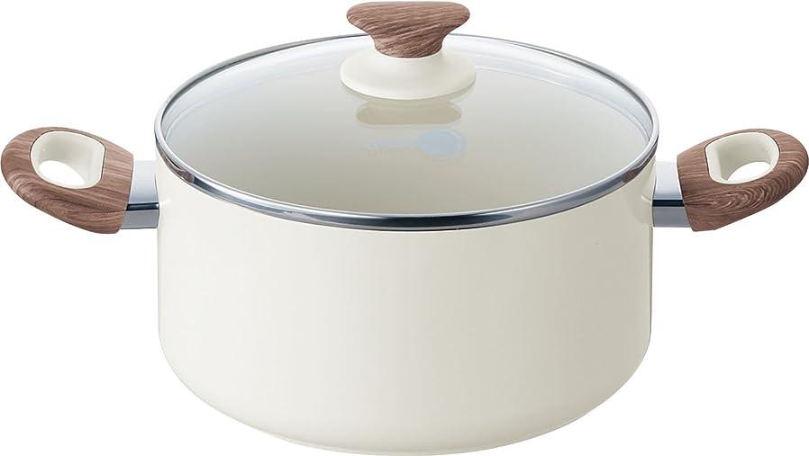 慢な問題スリラーグリーンパン キャセロール 蓋つきウッドビー ホワイト 20cm IH対応