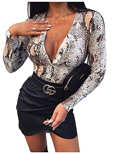 Carolilly Damen Bodysuit V-Ausschnitt Leopard Schlangenhaut Druck Body Bodycon Overall Langarm Jumpsuit,Style-b,M