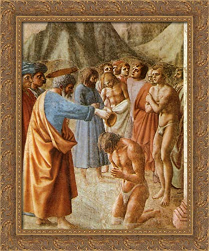 Baptism of The Neophytes 20x24 Gold Ornate Wood Framed Canvas Art by Masaccio