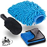 Onetrack Me Motorcycle Detailing Brush Kit – 3 Piece Pack with Wool Wash Brush, Chenille Wash Mitt, & Microfiber Wash Cloth – Perfect Car, Boat, Truck & Motorcycle Detailing Kit