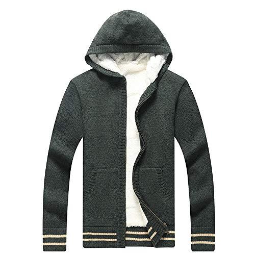 Aiserkly Herren Strickjacke Mantel Knitted Cardigan Warme Kapuzensweater Kapuzenpullover Kapuzen-Sweatshirt Hoodie Mantel T-Shirt Outwear Grün 2XL