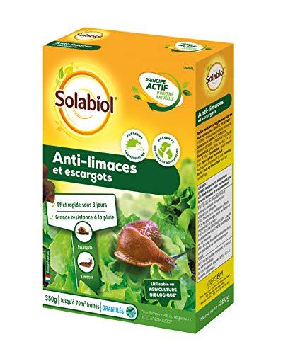 Solabiol SOLIMA350 Anti-Limaces et Escargots Granules d'origine Naturelle   350 GR   Jusqu' à 70 m² de traités   Résiste sous La Pluie   Protection Longue Durée
