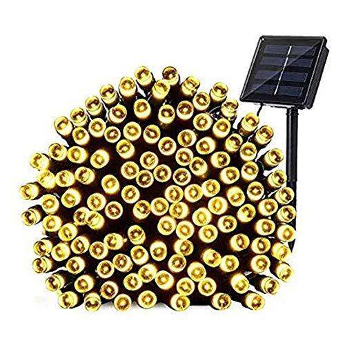 WangWDN Solar-snoer – waterdicht, 12 m 200 ledlampjes op zonne-energie, 2 modi buitenverlichting voor slaapkamer, bruiloft, tuin, gazebo en meer