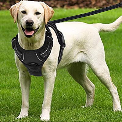 SCENEREAL No Pull Lagre Dog Harness - for Medium Large Dogs Soft Reflective Padded Vest with Handle & Leash Adjustable Easy Control for Walking & Training, Black