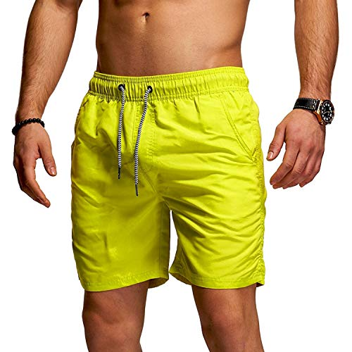 behype. Herren Bade-Shorts Kurze Hose Swim-Shorts Bade-Hose Strand Beach-Wear 80-1201 Green (Neon) L