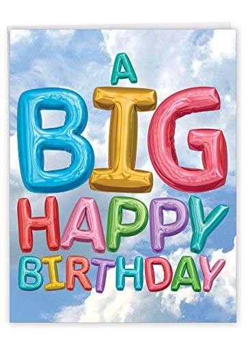 NobleWorks - Big Happy Birthday Card with Envelope (8.5 x 11 Inch) - Photo of Balloons Floating in the Sky, Jumbo HBD Greeting Card (Not 3D or Raised) - Inflated Messages Birthday J5651EBDG