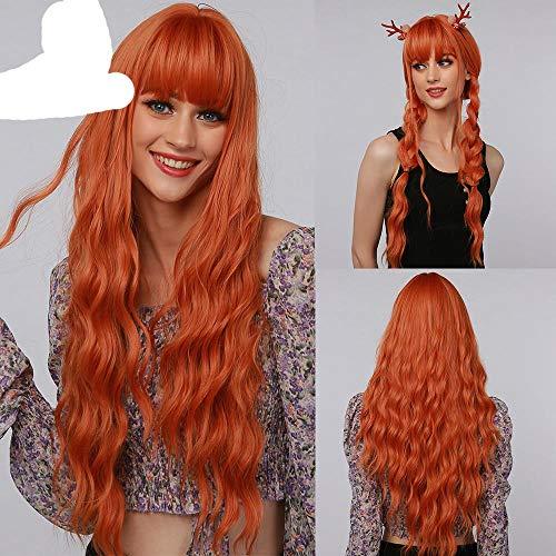 Peluca de Halloween Pelucas sintticas largas de color naranja oscuro con flequillo para pelucas resistentes al calor de mujer blanca y negra- # 144, Estados Unidos