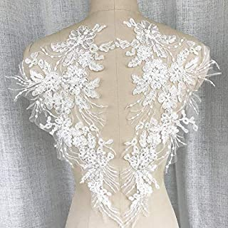 1Pair 42X23cm Delicate Wedding Sequins Head Ornaments Body Lace Applique Ivory Dress DIY Lace Trim Dress DIY Lace (White)