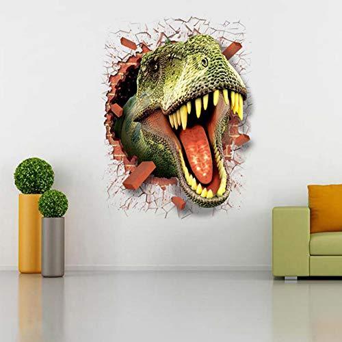 LKJYBG Selbstklebende entfernbare kreative Aufkleber,3D Dinosaurier Muster Wandaufkleber Poster Wallpaper Dekor Aufkleber für Zimmertür Glasfenster SIMR131 Dinosaurier mit zerbrochener Wand