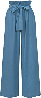 Women Frilled Waist Palazzo Pants Casual Wide Leg Trouser Belted with Pockets