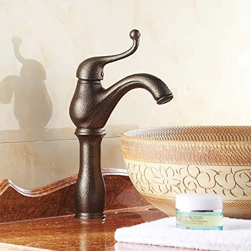 Yankuoo Vintage Bronzen Kraan, Creatief Theepot Ontwerp Warm En Koud Enkele Gat Badkamer Kraan, Opgeheven Chroom Keukenwastafel Kraan