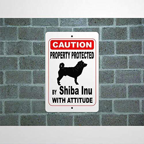 godblessign Schild mit Aufschrift 'Property Protected By Shiba Inu Guard Dog Warning Hofzaun Rasse Aluminium Schild 20 x 30 cm, reflektierendes Metallblechschild für drinnen und draußen