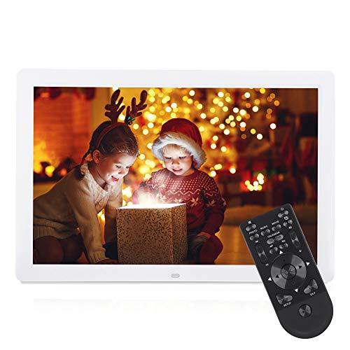 VBESTLIFE Digitaler Bilderrahmen, 17 Zoll 1440 * 900 HD, Musik- und Video-Player/Wecker/Kalender unterstützt USB und 32 GB SD Karte (weiß)