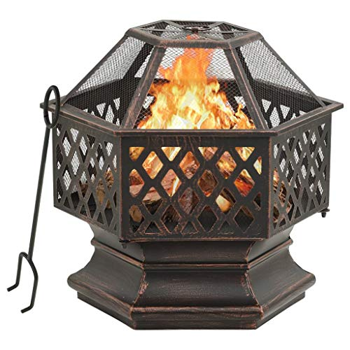 vidaXL Rustic Fire Pit with Poker Fire Bowl Patio Heater Fireplace Home Outdoor Garden Furnace Decoration with Mesh Cover XXL Steel
