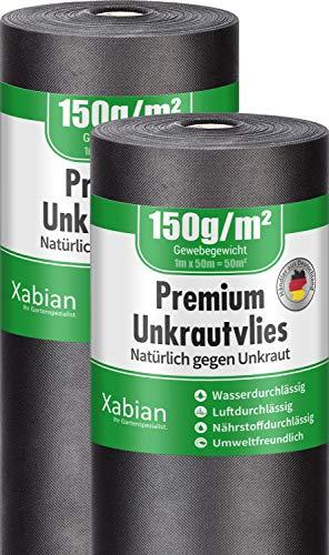 Xabian Anti Unkrautvlies 150g/m² Gartenvlies 2 Rollen 50m x 1m = 100m² I Unkrautfolie sehr hohe UV-Stabilisierung - extrem reißfest und wasserdurchlässig