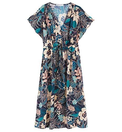 Promod Eleonor-Print-Kleid - Midi Marineblau Gemustert 38