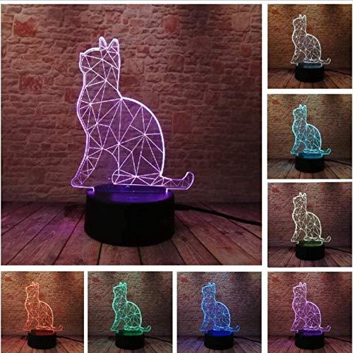 3D LED Illusionslampe Niedlich Gemütlich Liegen Freizeit Katze Nachtlicht USB Touch 7 Buntes Licht Kinder Schlafzimmer Kind Kinder Weihnachtsfeier Geschenke Lampe